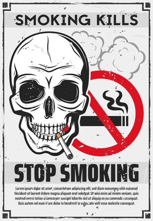 Stop smoking poster of skull with cigarette, red forbidden sign and smoke clouds.