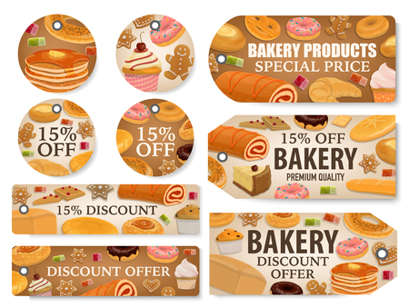 Bakery and pastry shop discount tags with bread and desserts. Ilustração