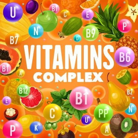 Vitamins and minerals complex in fruits  design Illustration