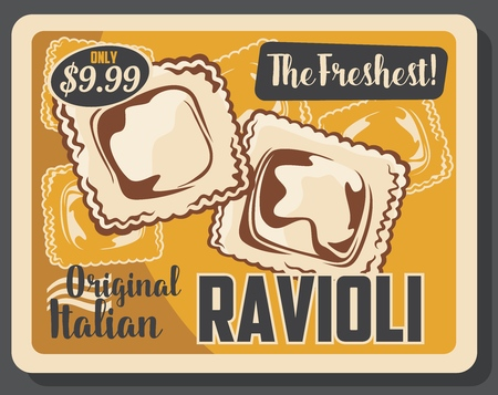 Ravioli pasta Italian cuisine dumpling with meat and vegetable fillings Illustration