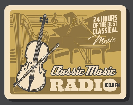 Classic music radio retro  poster with musical instruments and music notes. Illustration