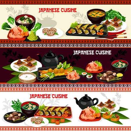 Japanese cuisine seafood sushi with rice, marinated ginger and lotus root vector banners. Иллюстрация