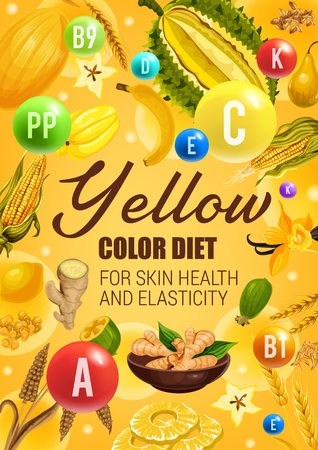 Yellow color diet vegetarian food ingredients, fruits, vegetables, spices and cereals. Иллюстрация