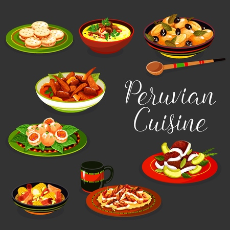 Peruvian meat and seafood dishes with vegetables vector design.