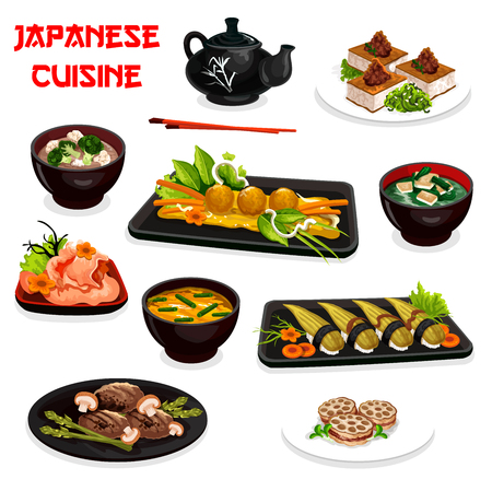 Japanese cuisine  design with traditional asian dishes.