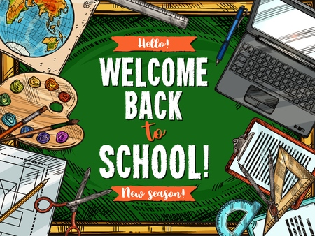 Welcome Back to School green blackboard and student education stationery poster.  イラスト・ベクター素材