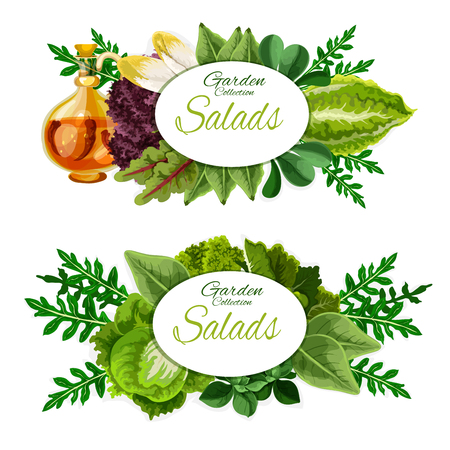 Leafy vegetables and salad greens of healthy nutrition and vegetarian food. Ilustracja