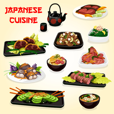 Japanese cuisine noodle dishes with meat, fish and vegetables.