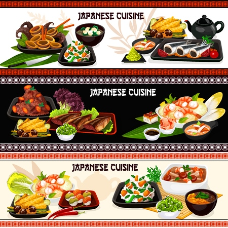 Japanese cuisine fish, seafood and vegetable dishes  banners. Ilustracja