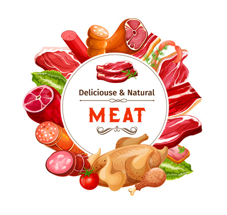 Sausages and meat food products vector poster. Beef steak, pork ham and salami, bacon, chicken and turkey leg, smoked frankfurter and lamb chop round frame with copy space in center. Butcher shop