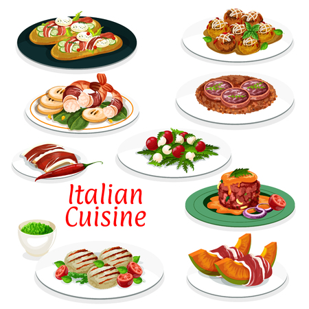 Italian cuisine dishes  design of beef meat tartare, meatball with cheese and focaccia bread with ham and vegetables  イラスト・ベクター素材