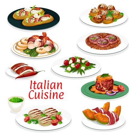 Italienische Küche Gerichte Design von Rinderfleisch Tatar, Frikadelle mit Käse und Focaccia-Brot mit Schinken und Gemüse