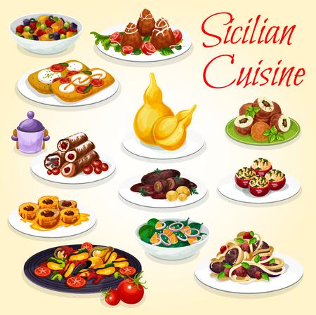 Piatti della cucina siciliana snack, insalate e dessert. Vettoriali