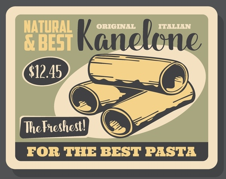 Cannelloni pasta retro poster with uncooked Italian macaroni tubes. Traditional food of Italy, mediterranean cuisine restaurant menu or cafe promotion design