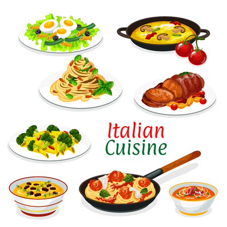 Italian cuisine dishes of pasta, meat and vegetable food. Illustration