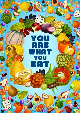 Exotic fruits vitamins and minerals  banner of healthy food nutrition benefits. Ilustração