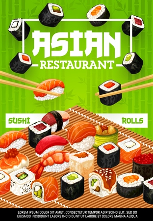Sushi rolls and seafood nigiri with chopsticks  design of asian cuisine restaurant.