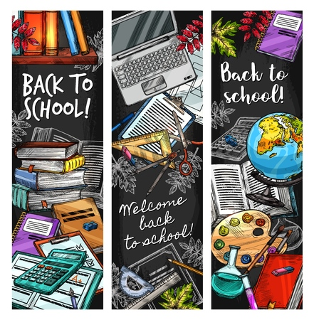 Back to School sketch education stationery and books on blackboard. Vector Welcome Back to School banners, math calculator, geography map globe, pens and pencils or watercolors and autumn leaves