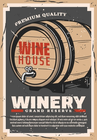 Winery retro poster of wine production company 向量圖像