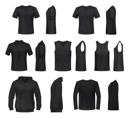 Women shirts 3d vector templates from front and side views. Black t-shirt, polo and hooded sweatshirt, tank top and long sleeve shirt, sport and activewear, promotional uniform design Foto de archivo - 124097511