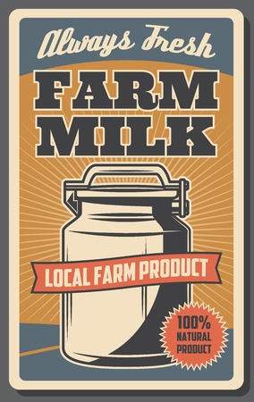 Milk can of dairy farm retro poster. Milk from grass fed cows, natural healthy food product, organic farming and agriculture vector theme