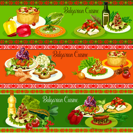 Bulgarian cuisine vegetable dishes with meat and cheese. Vector cabbage and pepper salads, tomato eggplant chutney lutenica and lamb stew, zucchini toast with bryndza, beef meatball soups, fruit pie