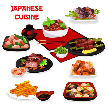 Plats de viande de cuisine japonaise avec légumes, gingembre et sauce soja. Vecteurs