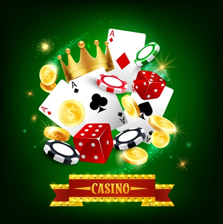Casino gambling game 3d vector poster. Roulette, poker playing cards and dice, blackjack chips and golden coins, decorated by casino marquee with light bulbs. Entertainment and gaming industry themes  イラスト・ベクター素材