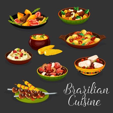 Brazilian cuisine meat dishes with vegetables. Ilustração