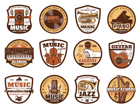 Music  icons of musical instruments and recording studio equipment. Illustration