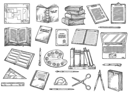 Books and stationery sketches, education and knowledge.