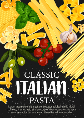 Italian pasta with vegetables, spices and herbs Illustration
