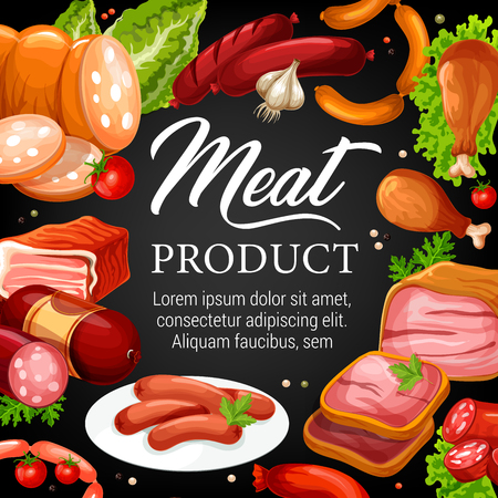 Meat food  poster of beef and pork sausages, ham, salami and bacon, chicken leg, smoked frankfurter and pepperoni. Illustration