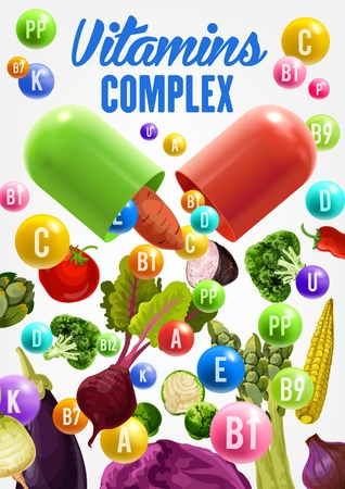 Vitamins and health benefits of vegetables vector design. Broccoli, pepper and potato, cabbage, tomato and eggplant, asparagus, radish and beet veggies. Vegetarian nutrition, healthy diet food themes Illustration