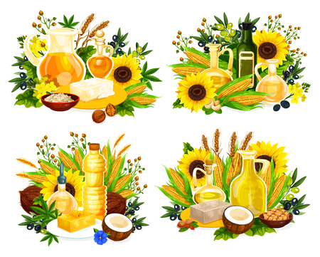 Cooking oil bottles and jars vector icons with vegetable ingredients. Olives, corn and sunflower, coconut, walnut and soybean, canola, hemp and sesame. Natural nut and seed oil, food seasonings design