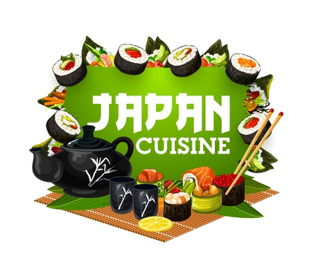 Japanese sushi rolls with chopsticks and tea vector icon. Rice, fish and seafood temaki sushi, philadelphia, california and hosomaki rolls, salmon uramaki and caviar gunkan. Asian cuisine restaurant