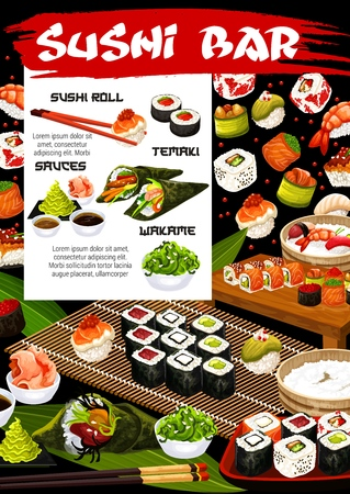 Sushi bar or japanese cuisine restaurant menu vector design. Seafood nigiri, rice and seaweed uramaki, philadelphia and california rolls with salmon fish and shrimp fillings, tuna temaki and gunkan Illustration