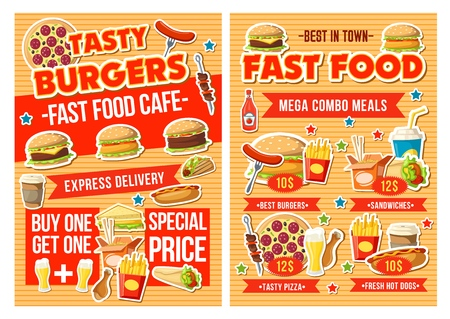 Fast food restaurant combo meal menu  design with special offer