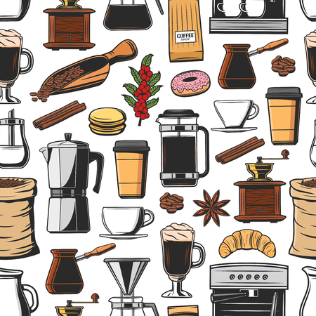 Coffee seamless pattern with cups of hot drink Vetores