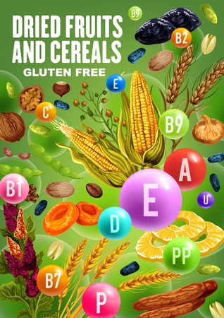 Dried fruits, nuts, beans and cereals rich of vitamins and minerals. Illustration