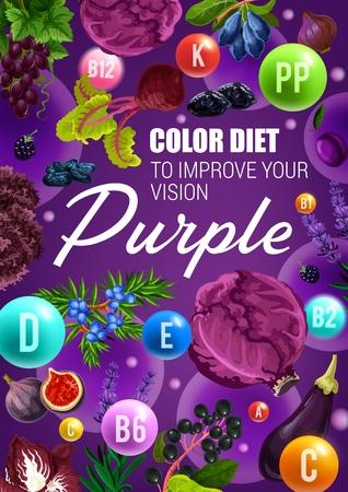 Color diet vegetarian food and eye health vitamins in purple berries, vegetables and fruits.