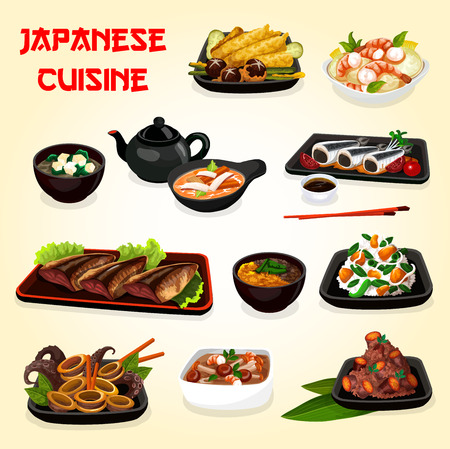 Japanese cuisine seafood and vegetable dishes with asian soy sauce vector design. Baked fish, shrimp salad and cuttlefish stew, miso, feta crab and mushroom soups, chestnut rice and fried sweet potato Illustration
