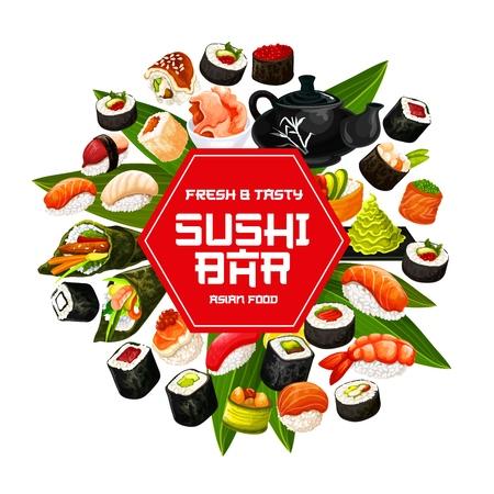 Cartel de barra de sushi japonés. Ilustración de vector