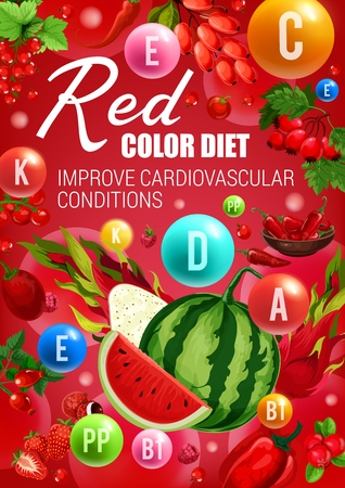 Red color diet food, healthy heart vitamins sources.