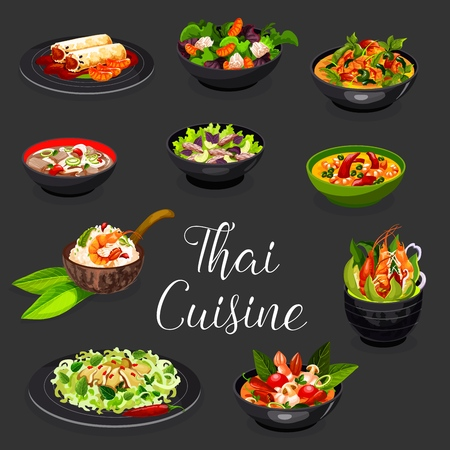 Thai cuisine spicy dishes with seafood and vegetables vector design. Shrimp, rice noodle and beef, coconut and chili soups, squid, beef and chicken orange salads, spring rolls and prawn risotto