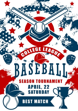 Baseball sport game season tournament of college league vector design. Ball, bat and winner trophy cup with home plate, batter player cap and pitcher gloves, championship match announcement poster Illustration