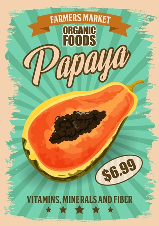Papaya tropical fruit vector design with cross section of exotic pawpaw plant with black seeds retro poster. Organic food of farmer market, vegetarian dessert and natural juice drinks Illustration