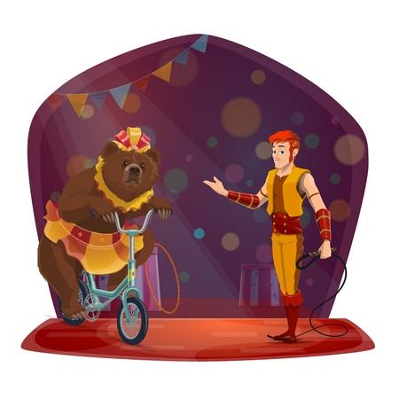 Conception de vecteur de spectacle d'animaux de cirque avec gestionnaire et ours se produisant sur l'arène. Entraîneur avec fouet et grizzly brun à vélo sur la scène du chapiteau, décoré de drapeaux et de lumières festives