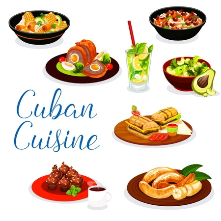 Cuban cuisine meat dishes with fruit dessert and drinks. Vector ham sandwich, beef, pork and chicken stew with vegetables, fried banana, coconut mojito, rice bean and avocado salads, coffee cupcake