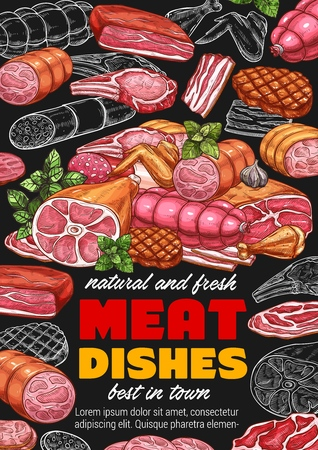 Meat food products of sausages, smoked chicken wings and bbq beef steak, pork brisket, ham and bacon, salami and lamb roast sketches on blackboard. Butcher shop, delicatessen meat dishes vector design